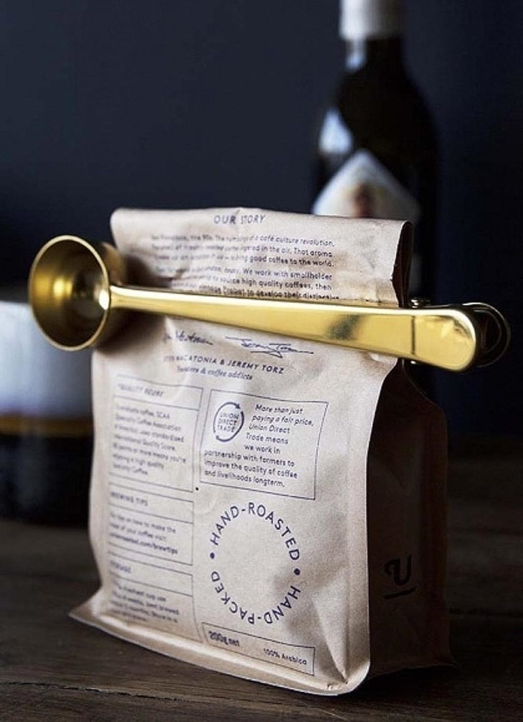 brass coffee spoon and clip