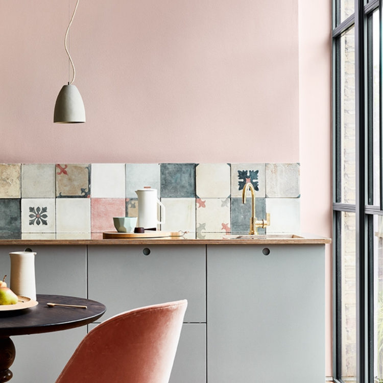 little greene paint company light peach blossom and teal greuy