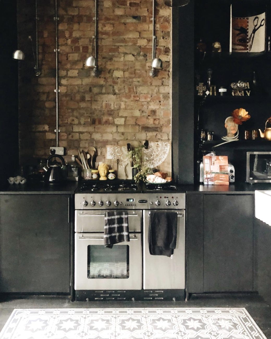 black ikea kitchen in the home of lucy st george of rockett st george