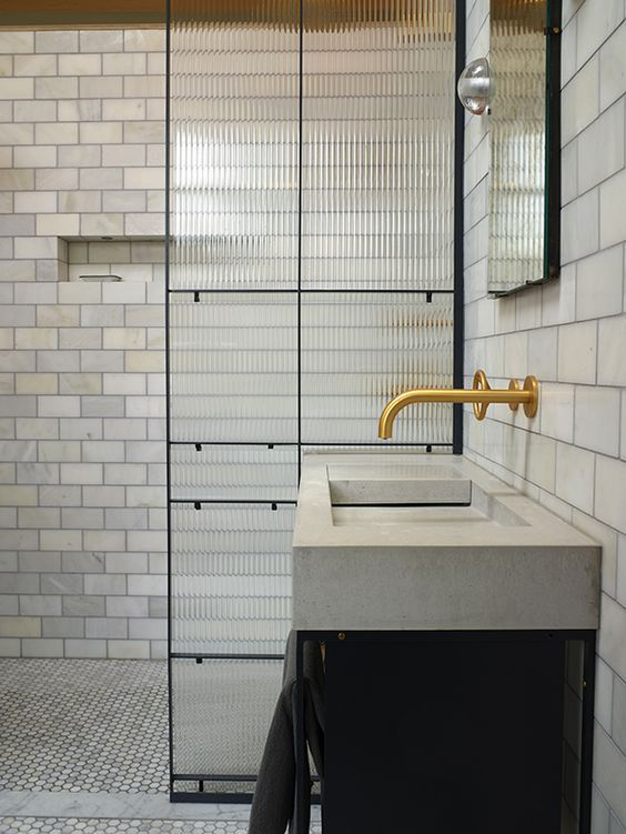 kast concrete basins reeded glass shower screen