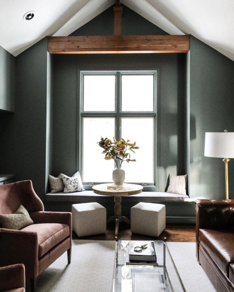 green walls and window via @parkandoakdesign
