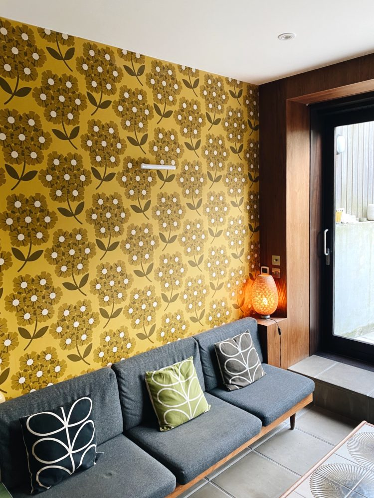 orla kiely vintage wallpaper in her home
