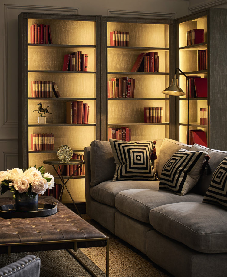 oka bookcase with john cullen contour led strip lighting