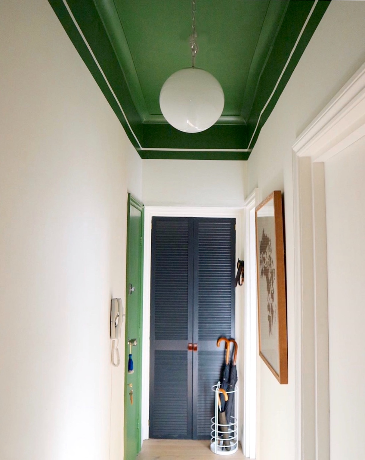 green ceiling in hall by andrew jonathan designs
