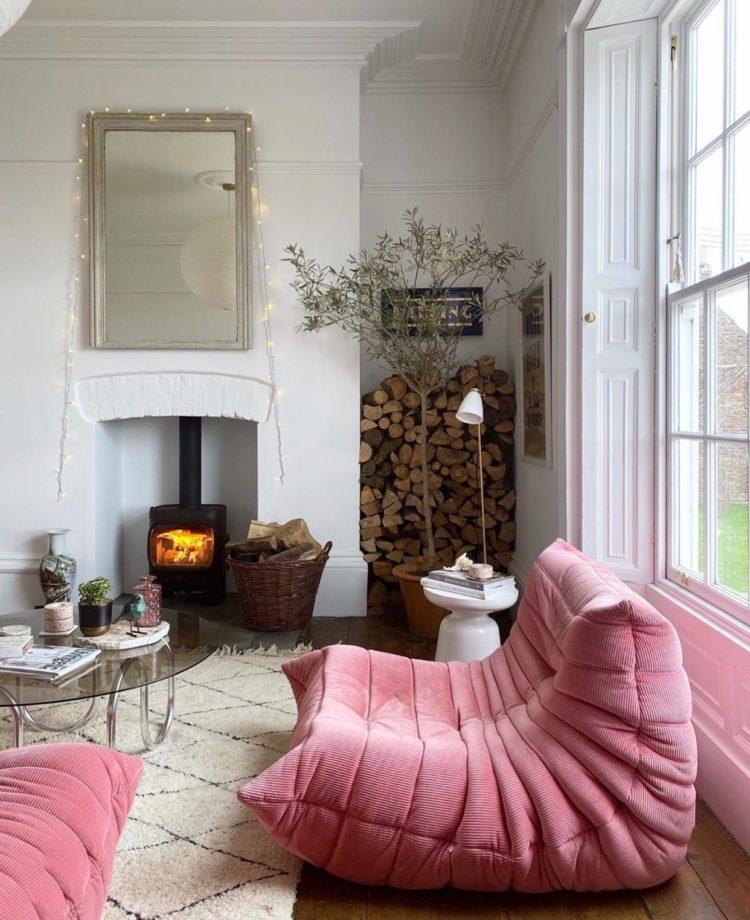pink togo sofa at the home of Lisa Dawson