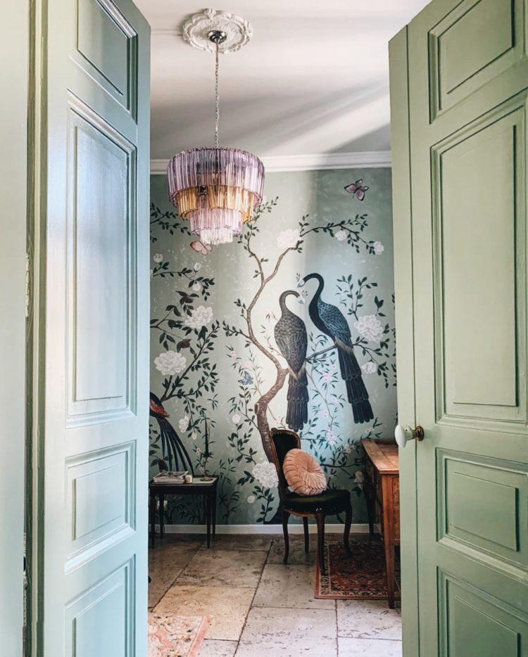 peacock wallpaper mint green woodwork image via @fig-tart