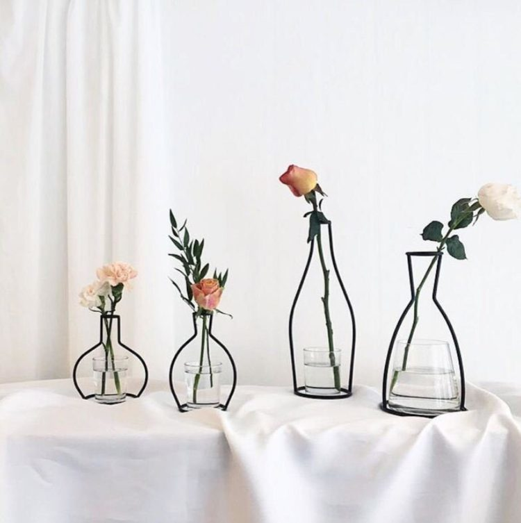 iron vases with glass lining from etsy