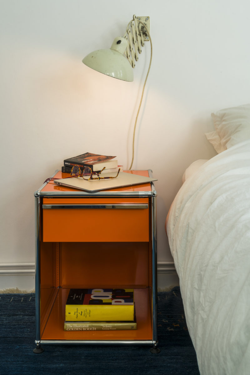 USM furniture can be adapted to suit your needs, this bedside table could grow to become a full media unit