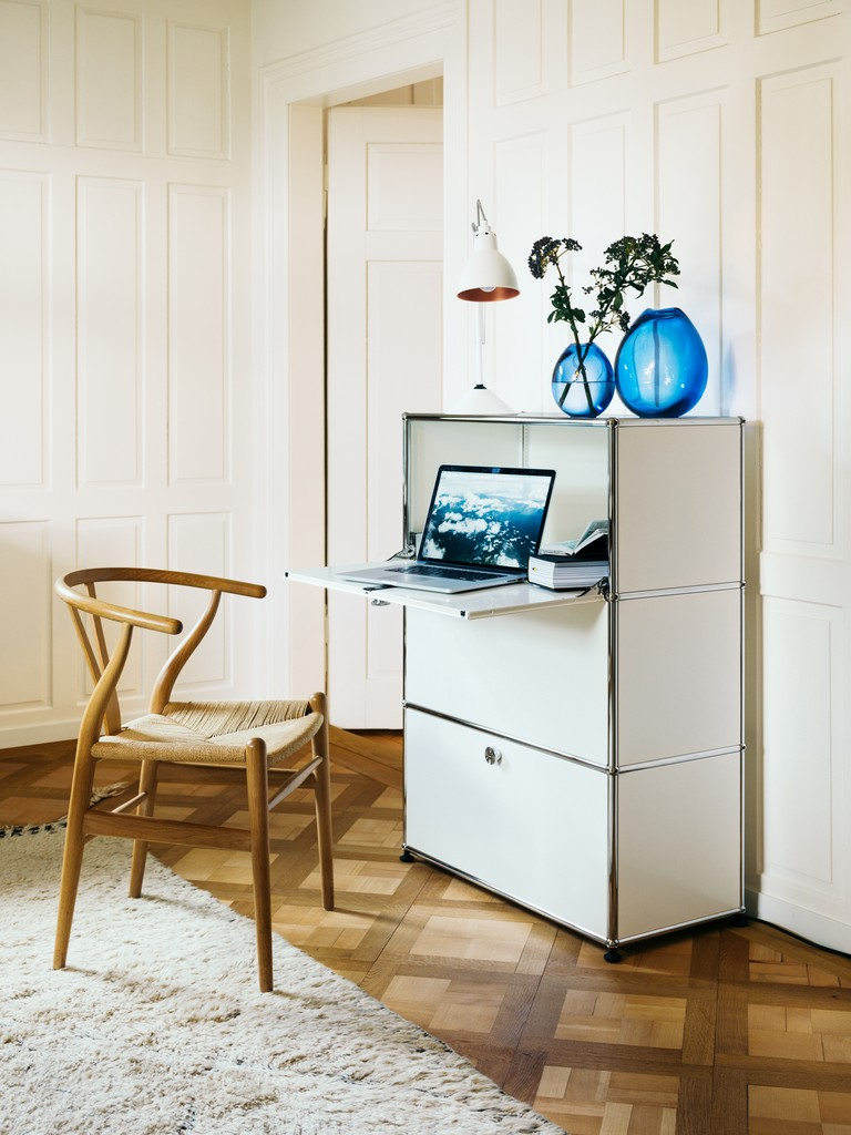 USM foldaway desk and storage in white - one of 14 colours