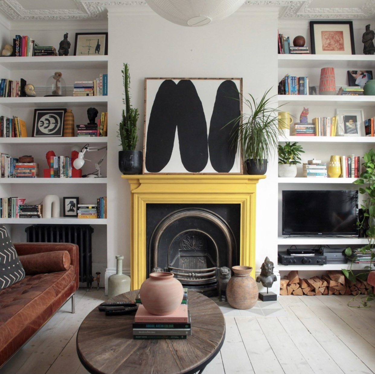 yellow fireplace by @interiorspickle
