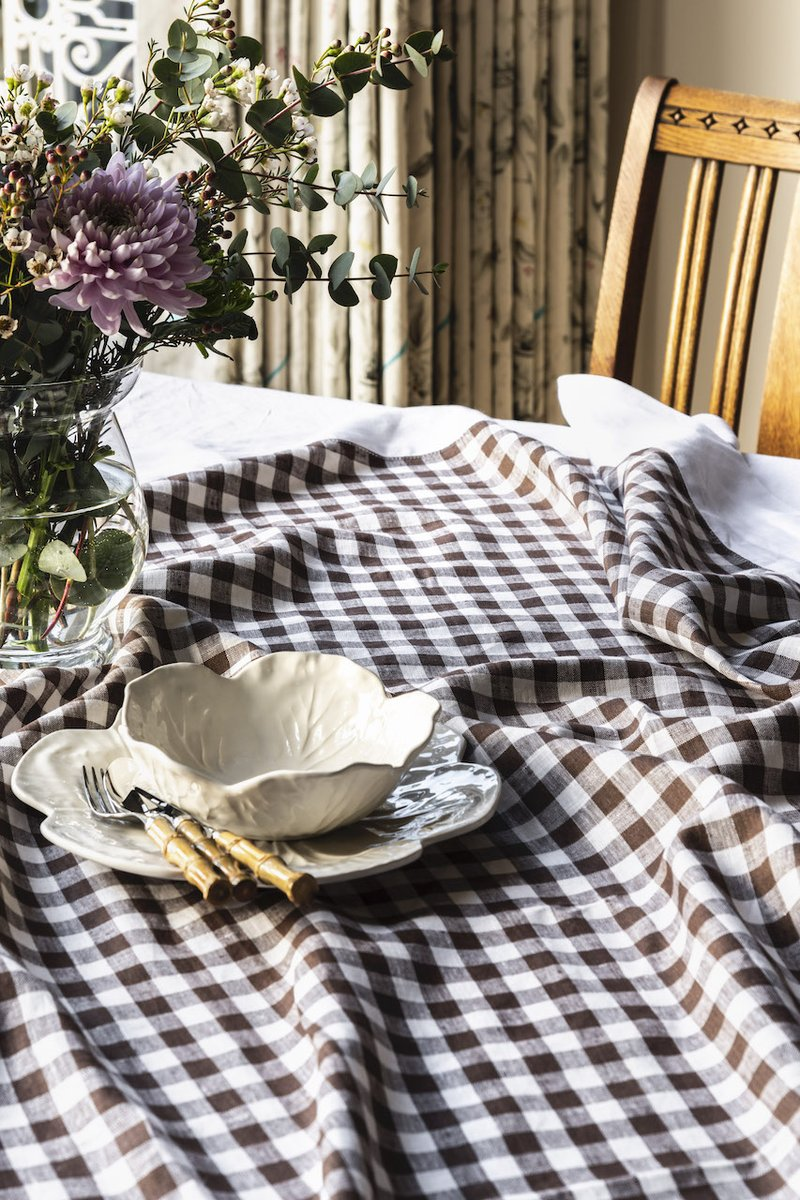 gingham linen tablecloth by rebecca udall