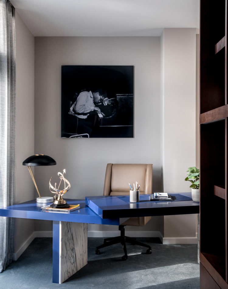 a WFH corner created by Angel/ODonnell - the desk pivots and you enter from the side