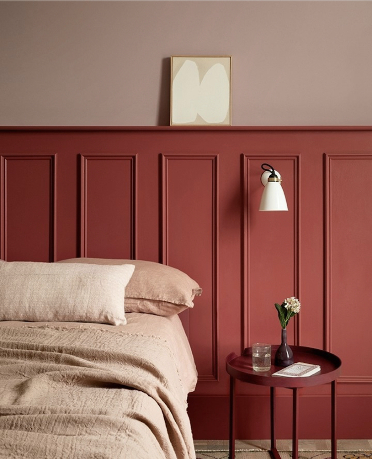 beetlenut by paint and paper library - wall panelling instead of headboard