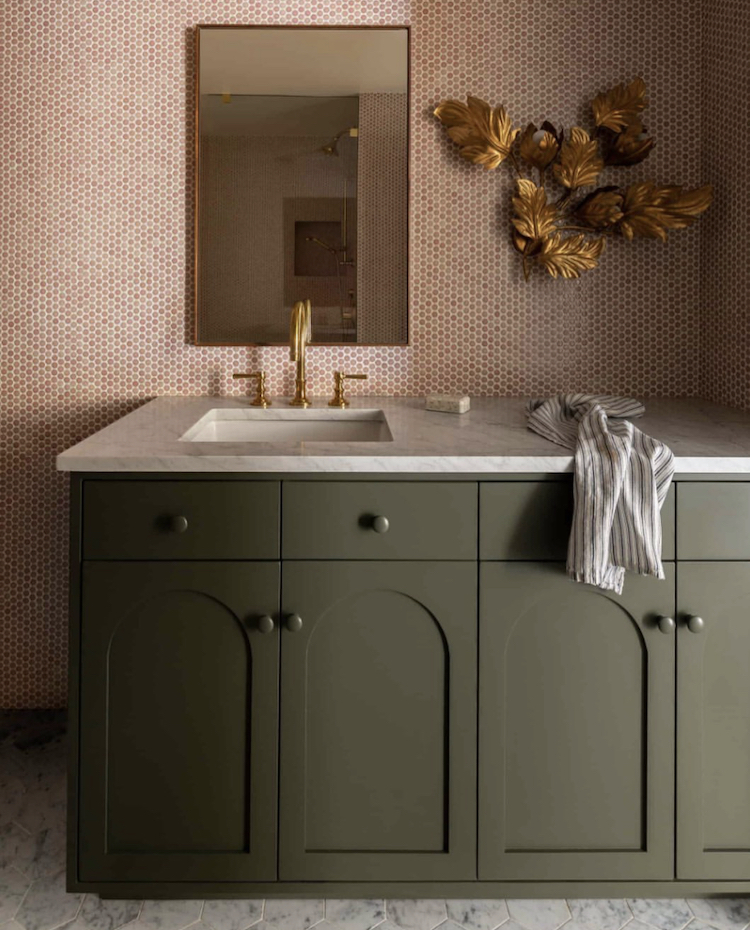 olive green and terracotta mosaic tiles by heidi callier design image by @haris.kenjar