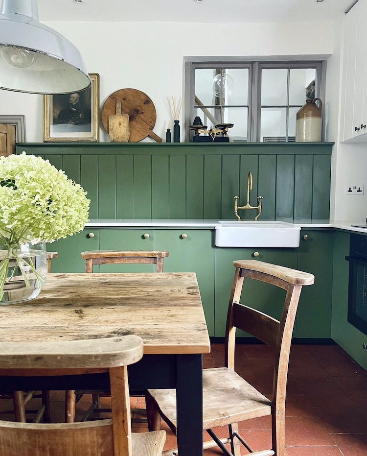 green kitchen by my tiny estate painted in fenwick & tilbrooke