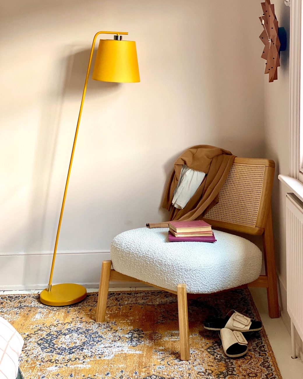 The new Anyday range from John Lewis includes this Harry floor lamp and dime boucle armchair